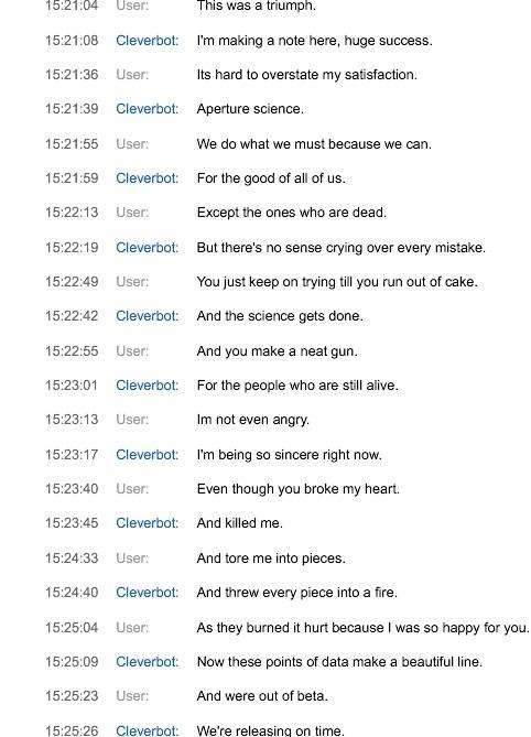 Singing Still Alive With Cleverbot 1