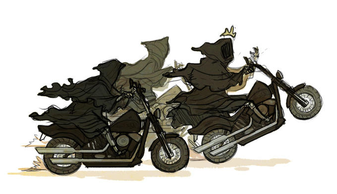 Lord of the Rings AU where all horses are motorcycles