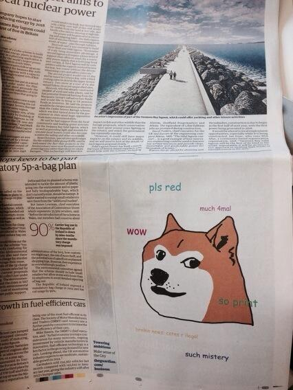 A Doge-themed Ad in The Guardian (February 7th, 2014, Page 27)