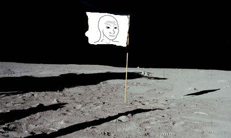 Feel flag on the Moon