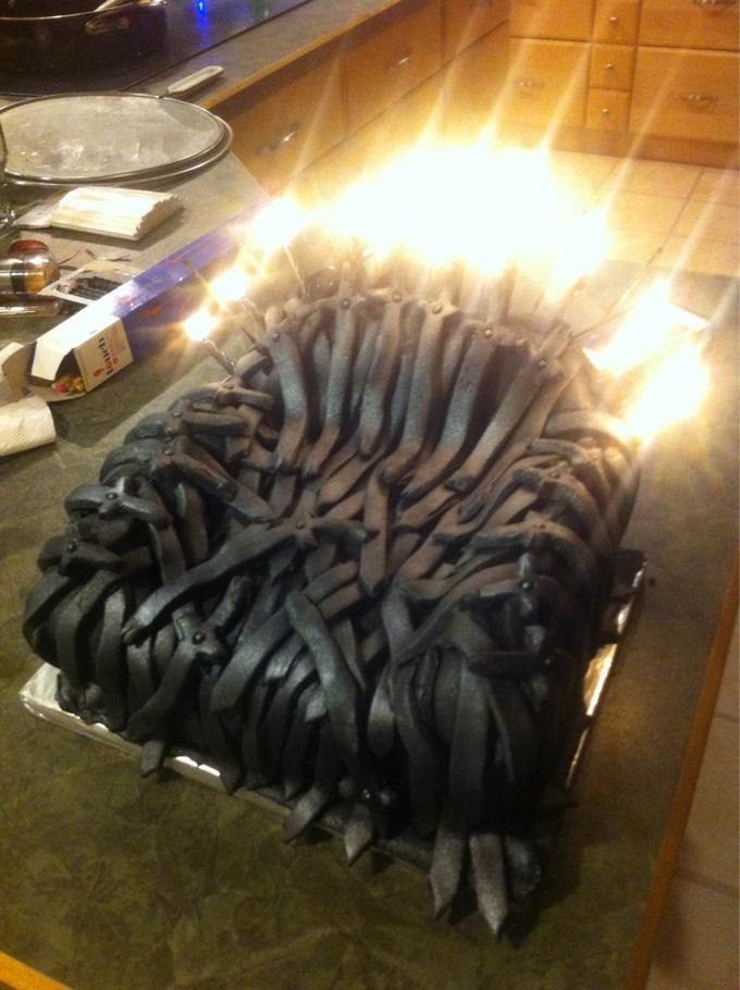 I tried to make an iron throne cake, looks more like the iron recliner but I'm proud of it either way.