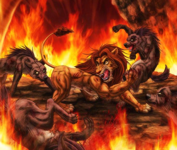 Simba fighting the Hyenas on Pride Rock