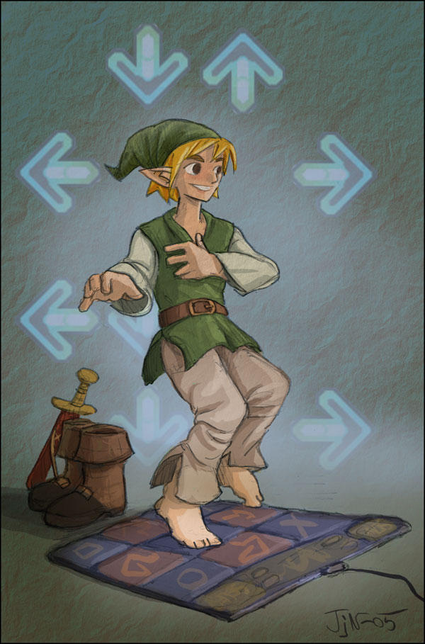 Link plays DDR
