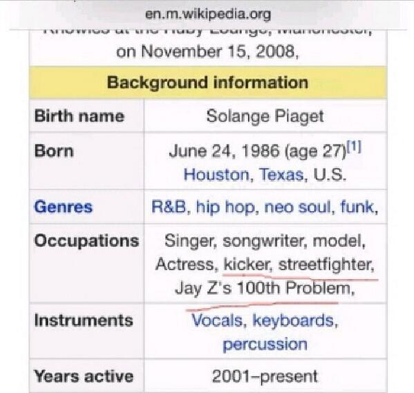 Wikipedia: Solange Knowles
