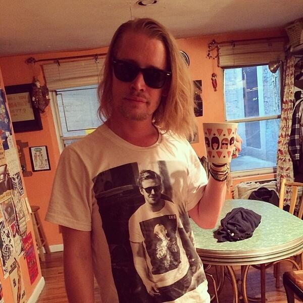 Macaulay Culkin Wearing A Photo Of Ryan Gosling Wearing A Photo Of Macaulay Culkin
