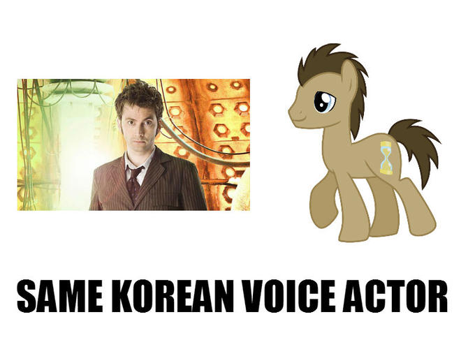 Also this http://www.equestriadaily.com/2014/06/doctor-whoof-says-allons-y-in-korean-dub.html