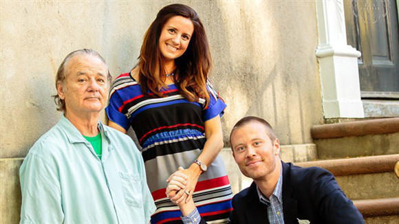 Bill murry photobombs couples engagement picture
