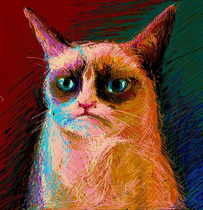 Grumpy Cat iPad art.
