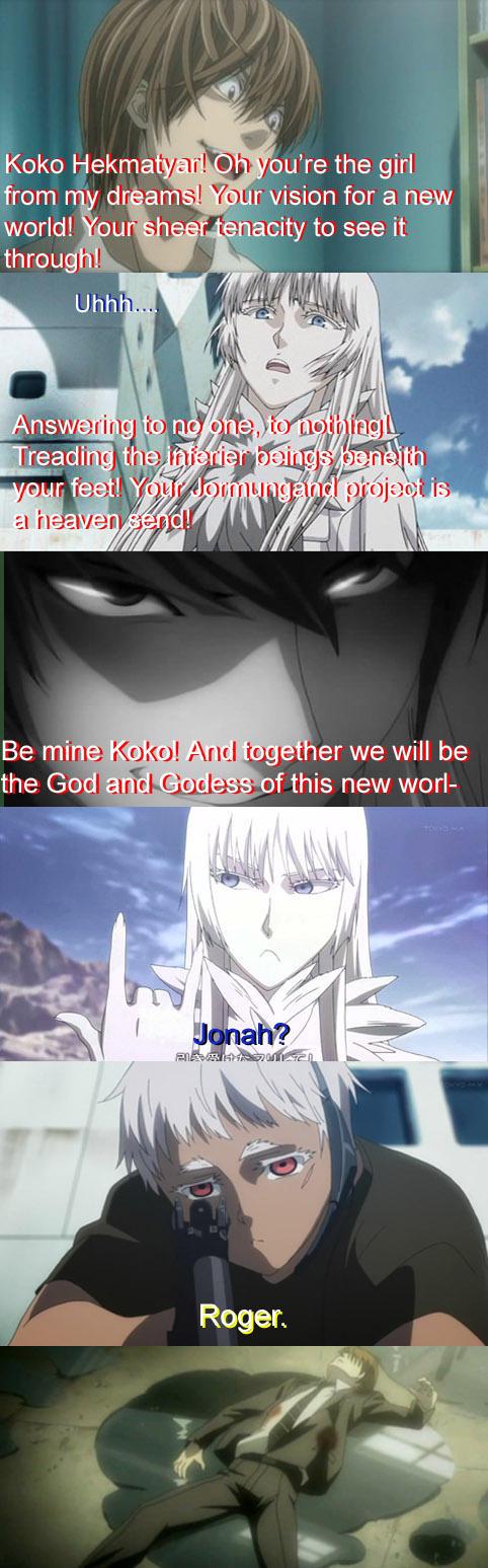 Death Note: Light meets Koko from Jormungand