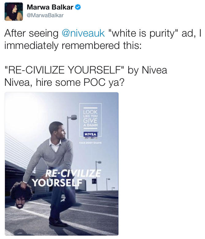 re civilize yourself Nivea usa, maker of skin care products, boosted its profile this week, but not in a civilized way an ad in esquire magazine showed a clean-cut black man ready to heave a dark-skinned head with long locks and an unkempt beard, with the words, re-civilize yourself reactions fanned across the.