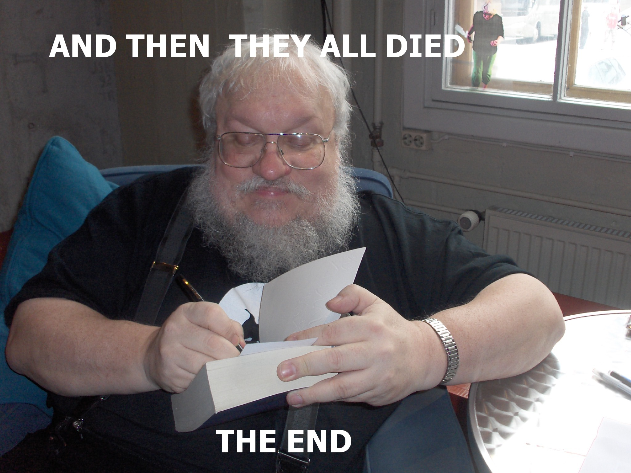 Image result for george rr martin laughing gif