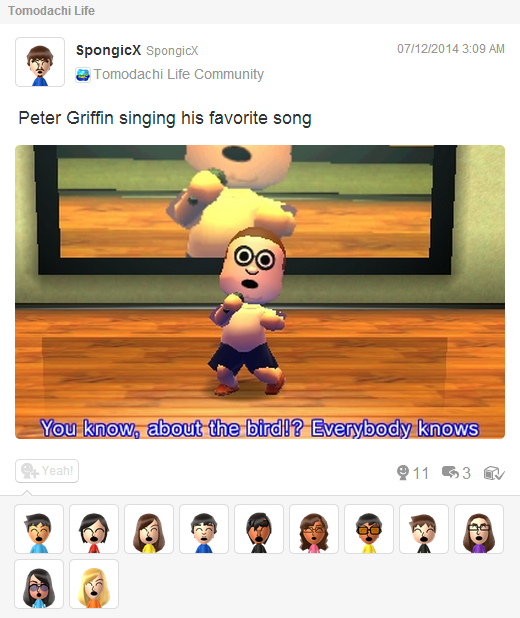 Tomodachi Life Peter Griffin Live In Concert Miiverse Know Your Meme
