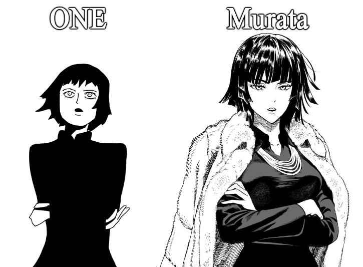 Dibujos de One Punch Man. One vs Murata. Casi no se nota la diferencia. Fuente: knowyourmeme.com.