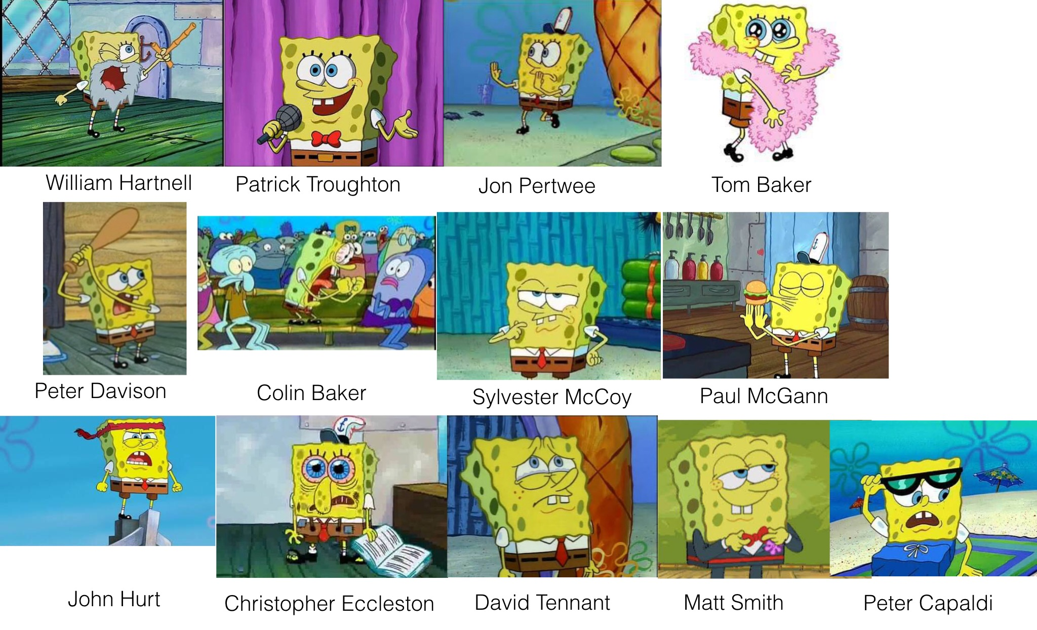 Spongebob As Doctor Who Incarnations Spongebob