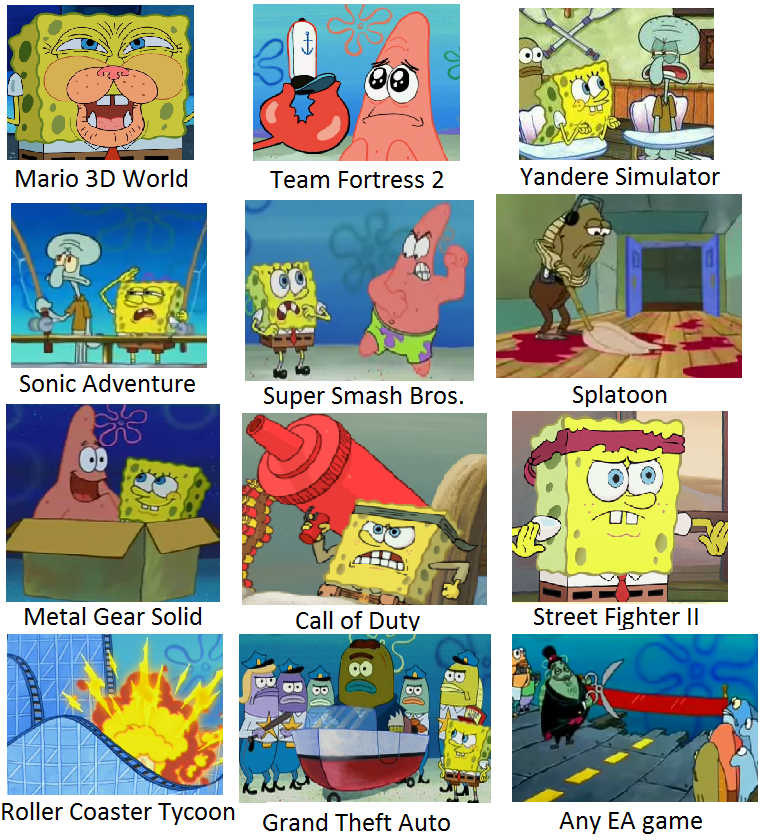 spongebob as video games spongebob comparison charts
