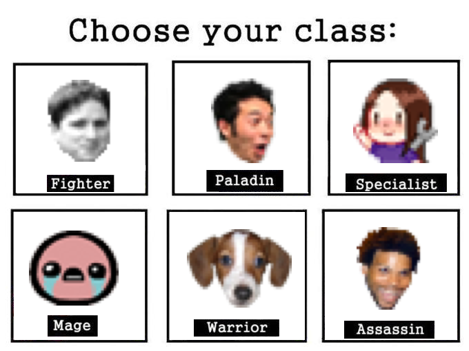 twitch emote edition choose your class know your meme. Black Bedroom Furniture Sets. Home Design Ideas